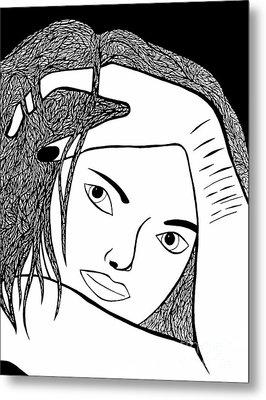 Metal Print featuring the drawing Genuine Scars by Jamie Lynn