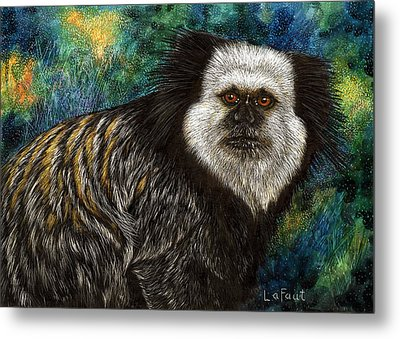 Metal Print featuring the drawing Geoffrey's Marmoset by Sandra LaFaut