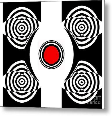 Geometric Abstract Black White Red Art No.400 Metal Print by Drinka Mercep