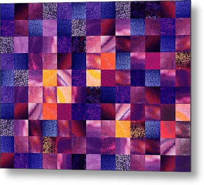 Geometric Abstract Design Purple Meadow Metal Print by Irina Sztukowski