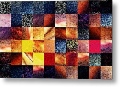 Geometric Abstract Design Sunrise Squares Metal Print by Irina Sztukowski