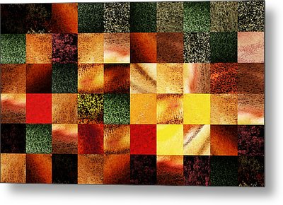 Geometric Abstract Design Sunset Squares Metal Print
