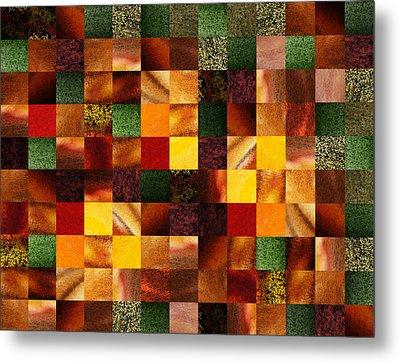 Geometric Abstract Quilted Meadow Metal Print by Irina Sztukowski