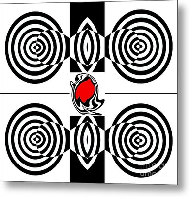 Geometric Art Black White Red Abstract No.382. Metal Print by Drinka Mercep