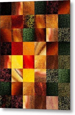 Geometric Design Squares Pattern Abstract II Metal Print by Irina Sztukowski