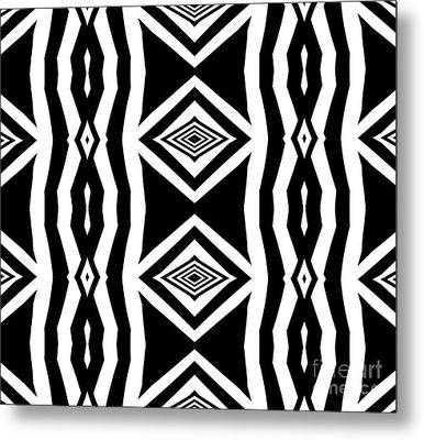 Geometric Pattern Abstract Black White Art No.339. Metal Print by Drinka Mercep