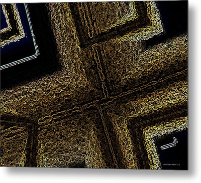 Geometric Texture And Brown Metal Print by Mario Perez