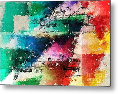 Metal Print featuring the digital art Geometric Warm And Cool by Lon Chaffin