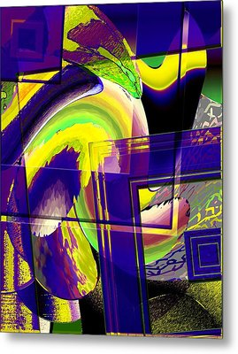 Geometrical Art With Yellow And Lilac Metal Print by Mario Perez