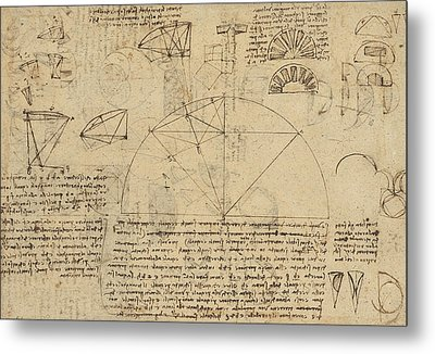 Geometrical Study About Transformation From Rectilinear To Curved Surfaces And Vice Versa From Atlan Metal Print by Leonardo Da Vinci