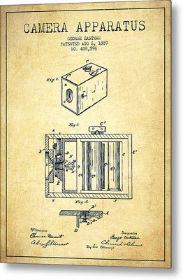 George Eastman Camera Apparatus Patent From 1889 - Vintage Metal Print