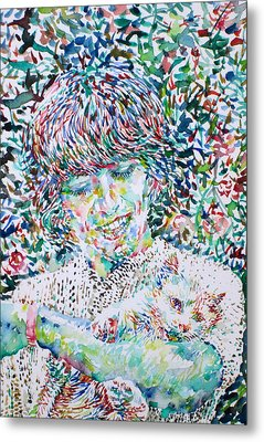 George Harrison With Cat Metal Print by Fabrizio Cassetta