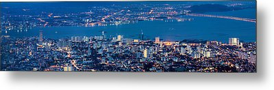George Town Penang Malaysia Aerial View At Blue Hour Metal Print by Jpldesigns