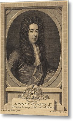 George Vertue After Sir Godfrey Kneller English Metal Print by Quint Lox