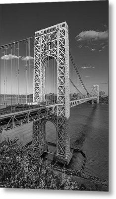 George Washington Bridge Bw Metal Print by Susan Candelario