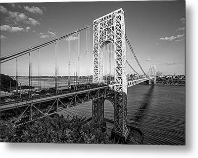 George Washington Bridge Nyc Bw Metal Print