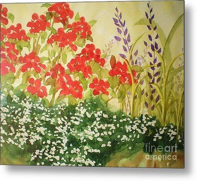 Metal Print featuring the painting Geraniums And Friends by Suzanne McKay