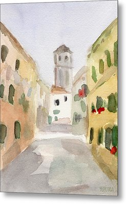 Geraniums Cannaregio Watercolor Painting Of Venice Italy Metal Print by Beverly Brown