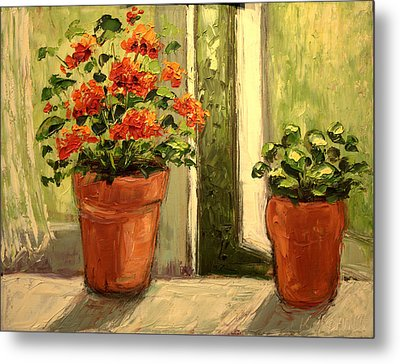 Geraniums In The Window Paint Along With Nancy Pbs Metal Print by    Michaelalonzo   Kominsky