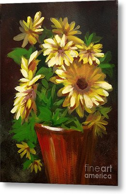 Metal Print featuring the painting Gerber Daisies 3 by Carol Hart
