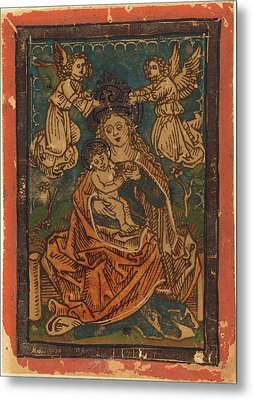 German 15th Century, Madonna And Child Seated On A Grassy Metal Print