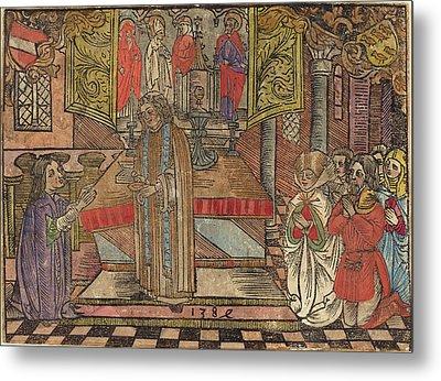 German 15th Century, Miracle At Seefeld, 1484, Woodcut Metal Print