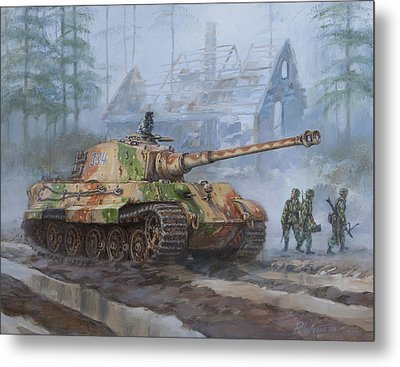 German King Tiger Tank In The Battle Of The Bulge Metal Print