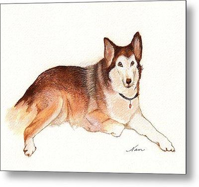 Metal Print featuring the painting German Shepherd Dog by Nan Wright