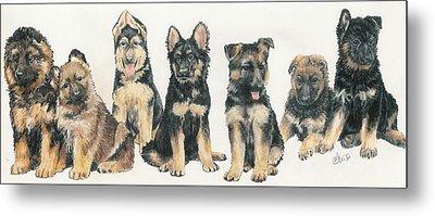 German Shepherd Puppies Metal Print by Barbara Keith