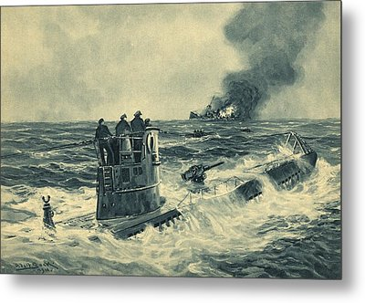 German U-boat Attack, World War II Metal Print by Science Photo Library