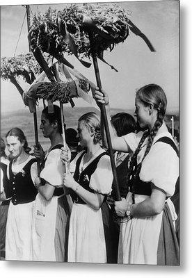 German Women Wearing Traditional Folk Metal Print by Everett