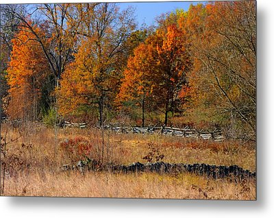 Metal Print featuring the photograph Gettysburg At Rest - Autumn Looking Towards The J. Weikert Farm by Michael Mazaika