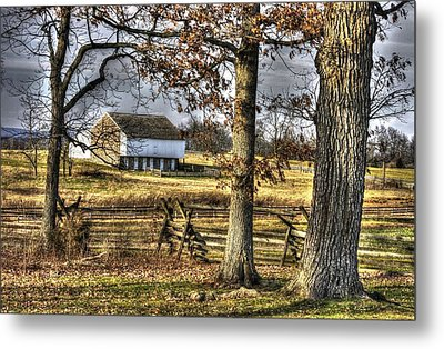 Metal Print featuring the photograph Gettysburg At Rest - Winter Edward Mc Pherson Farm by Michael Mazaika
