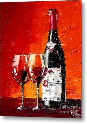 Still Life With Wine Bottle And Glass IIi Metal Print by Mona Edulesco