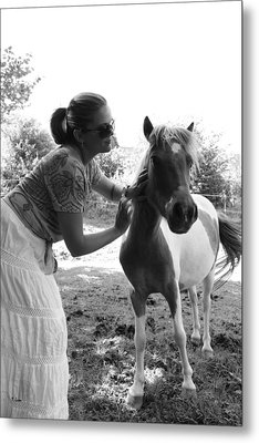 Gg And Her Horse Metal Print by Thomas Leon