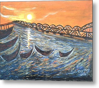Godavari River And Bridge Metal Print