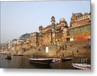Ghats And Boats On The River Ganges At Varanasi In India Metal Print by Robert Preston
