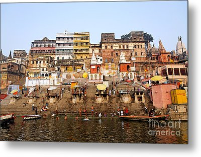 Ghats In The River Ganges At Varanasi In India Metal Print by Robert Preston