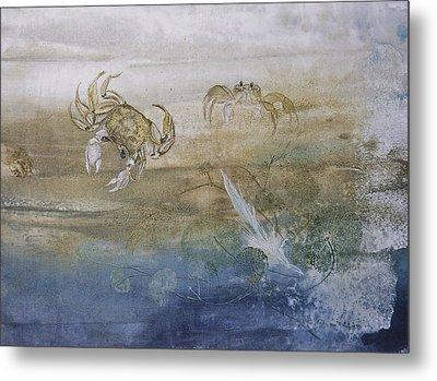 Ghost Crab Metal Print by Nancy Gorr