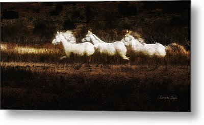 Metal Print featuring the photograph Ghost Horses by Karen Slagle