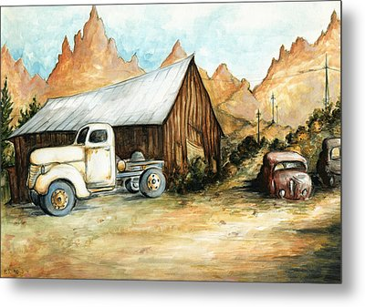 Ghost Town Nevada - Watercolor Art Metal Print by Art America Gallery Peter Potter