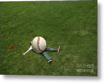 Giant Baseball Metal Print