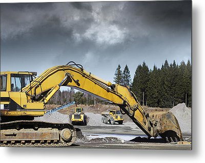 Giant Bulldozers In Action Metal Print by Christian Lagereek