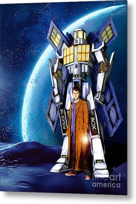 Giant Robot Phone Box With The Doctor Metal Print