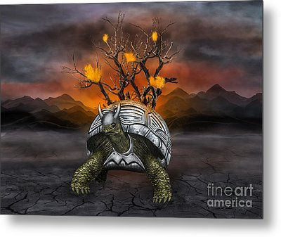 Giant Turtle Warrior In The Old Metal Armor... Metal Print