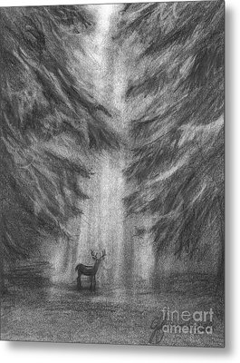 Metal Print featuring the drawing Giants Of The Woods by J Ferwerda