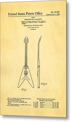 Gibson Flying V Guitar Patent Art 1958 Metal Print by Ian Monk