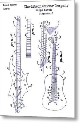 Gibson Guitar Patent Blueprint Metal Print by Jon Neidert