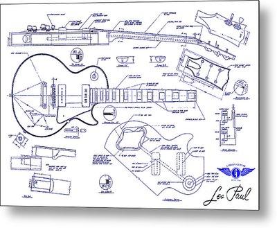 Gibson Les Paul Blueprint Drawing Metal Print by Jon Neidert