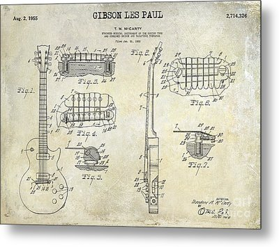 Gibson Les Paul Patent Drawing Metal Print by Jon Neidert